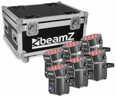 Beamz bbp60 uplighter set 6pcs 9x12w 6in1 wrless charg.case